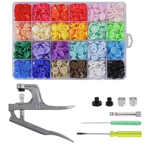 MaoXinTek Botones de Presion 24 Colores T5 Botones Snaps Plastico con Alicates de Presión para DIY De Coser 240 Set