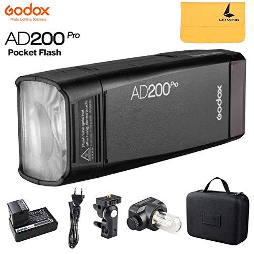 Godox AD200Pro AD200 Pro Pocket Flash TTL 200Ws 2.4G HSS 1 / 8000s Flash Stroboscopico DoppiaTesta con 2900mAh litio Batteria Compatibile per Nikon Canon Sony Fuji Olympus Panasonic Pentax Camera