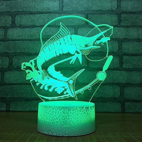 Letra creativa pescado luz de visión 3D base de grieta creativa lámpara de mesa pequeña decoración creativa lámpara de mesa pequeña acrílico luz de noche multicolor luz LED