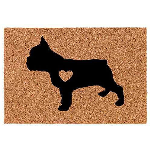 Coir Doormat Front Door Mat New Home Closing Housewarming Gift Cute French Bulldog Frenchie with Heart (30' x 18' Standard)