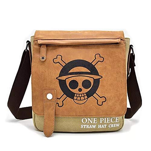 HAMIQI Bolso de hombro de One Piece de Anime bolso de mensajero de Attack on Titan bolso cruzado de Naruto bolso de lona para cosplay (One Piece-02)