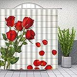 XCBN Rote Rose Blume Duschvorhang Set Valentinstag Paar Blütenblatt Badezimmer Dekoration Haushalt...