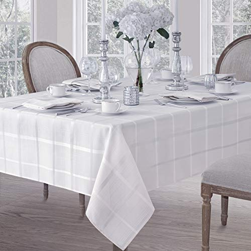 Elegance Plaid Contemporary Woven Solid Decorative Tablecloth by Newbridge, Polyester, No Iron, Soil Resistant Holiday Tablecloth,  52 X 52 Square, White