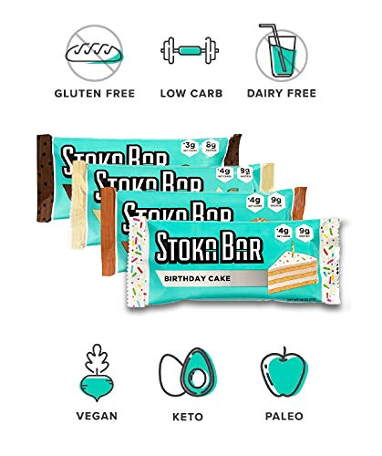 Stoka Bars- Vanilla Almond and Cocoa Almond | All Natural- Low Carb Energy Bar | 4g Net Carbs | 9g Protein | Keto Friendly | Packaging May Vary | 8 Count