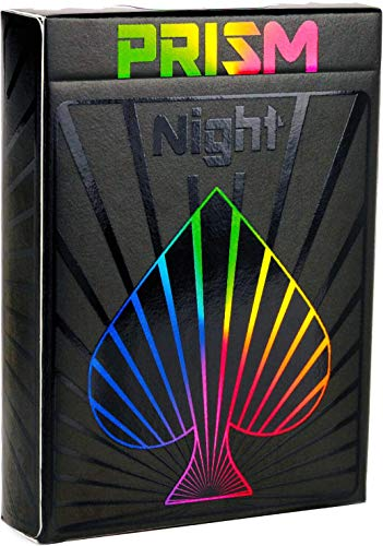 Premium Playing Cards, Deck of Cards, Cool Prism Gloss Ink, Best Poker Cards, Unique Bright Rainbow & Red Colors for Kids & Adults, Black Playing Cards Games, Standard Size (Night)