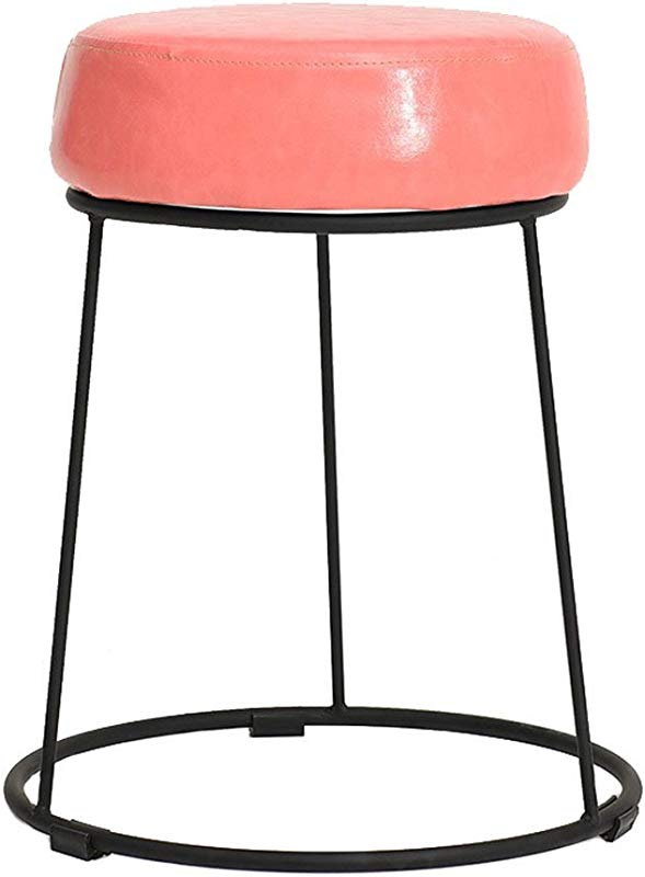 WZ Ottomans Footstool Makeup Stool Black Iron Frame PU Ottoman Pouffe Change Shoe Stool Living Room Bedroom Four Colour 38 5cmx46cm Color Pink