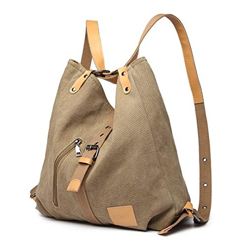 Kono Women Canvas Backpack Shoulder Bag Fashion Multifunctional Casual 3 in 1 Ladies Travel Daypack Handbags (Khaki)