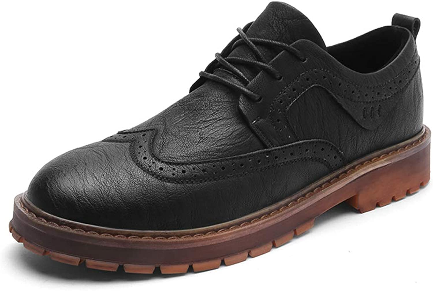 JIALUN-shoes Men's Simple Fashion Oxford Casual Classic Carving Lace Up Retro Brogue shoes