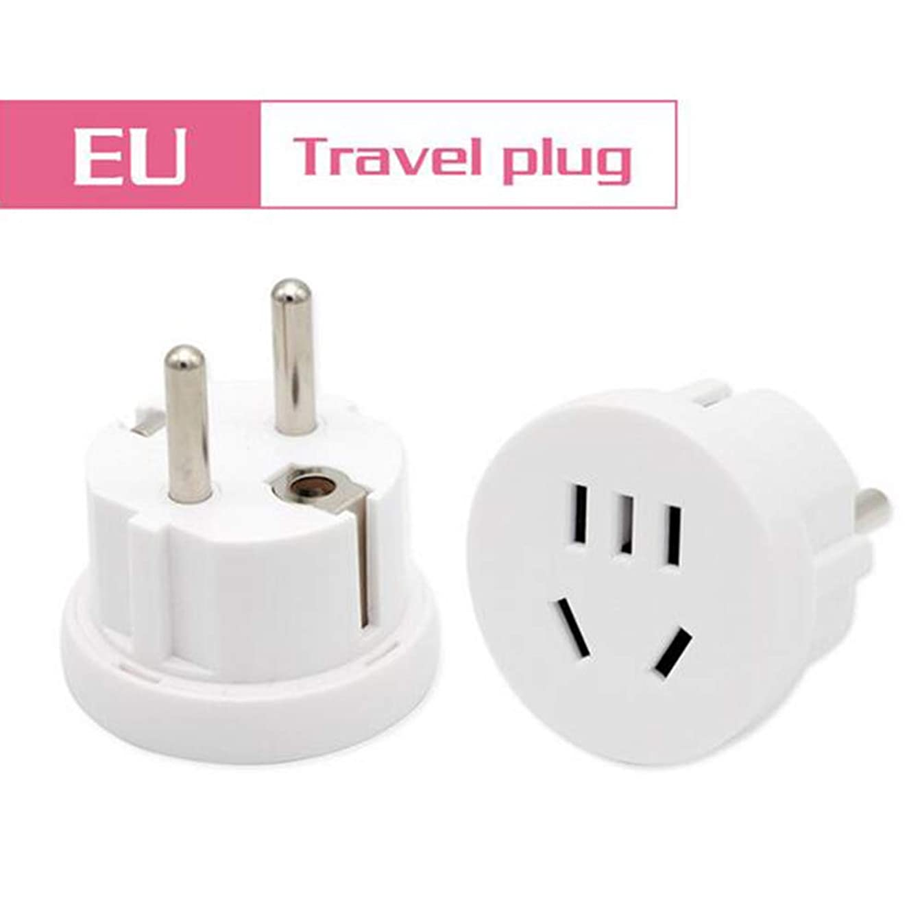 記念碑簡略化する定数1PC US AU to EU Plug USA AUS to Euro Europe Travel Wall AC Power Plug Wall Charger Outlet Adapter Converter 2 Round Pin Socket,白