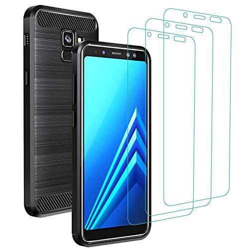 iVoler Cover per Samsung Galaxy A8 2018 + 3 Pezzi Pellicola Vetro Temperato, Fibra di Carbonio Custodia Protezione in Morbida Silicone TPU Anti-Graffio e Antiurto Protettiva Case - Nero