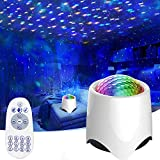 Star Projector Night Light for Kids Adults, Amouhom Bluetooth Speaker LED Ocean Wave Lamp Remote Control, White Noise Machine for Sleeping/Nursery/Yoga/Relaxation, Bedroom Decor Birthday Xmas Gifts