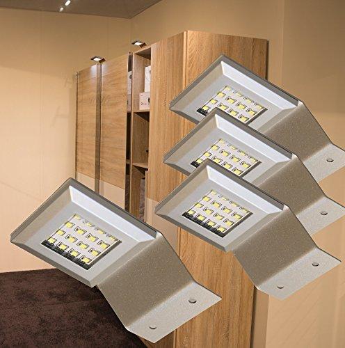 LED Aufbauleuchten Alu / 4-er Set / 2365-4 Lichtfarbe warm weiß / Komplettset mit LED Netzteil Schalter Steckverbindung / Schrankleuchte / Aufbauleuchte / Möbelbeleuchtung