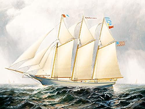 Kit de pintura de diamantes de punto de cruz de barco bordado de diamantes 5D hecho a mano con patrón de vela de mar kit de diamantes de imitación hechos a mano A7 40x50cm
