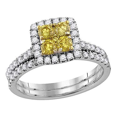 Juego de anillos de boda de oro blanco de 14 quilates con diamantes amarillos canarios y cuadrados, 1 1/4 quilates para mujer