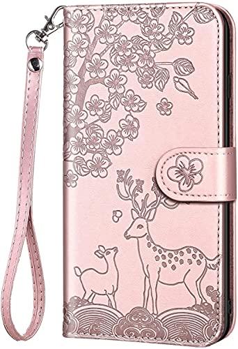 KELISI - Funda para Samsung Galaxy S8+/S8 Plus (6,2 pulgadas), diseño de flores de ciervos, piel sintética, plegable, con ranuras para tarjetas, función atril, color rosa