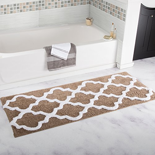 Lavish Home 100% Cotton Trellis Bathroom Mat - 24x60 inches - Taupe