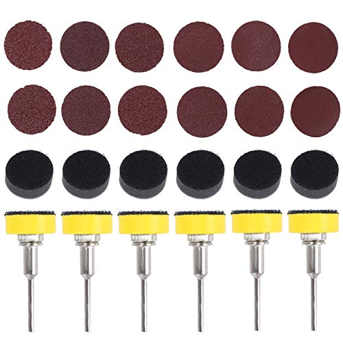 YSTCAN 24Pcs 1 Inch/25mm Sanding Discs Pad Kit 60/80/100/150/240 Grits Hook and Loop Pads with 1/8 Inch Shank Backer Plate and Soft Foam Buffering Pad for Dremel Rotary Tool Wood Metal