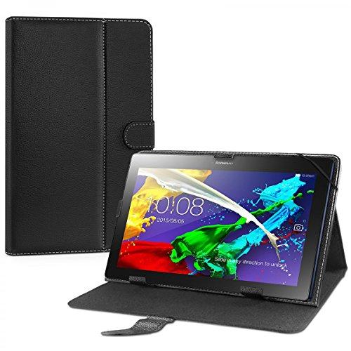 eFabrik Universal Schutztasche für Lenovo TAB 2 A10-30F Hülle 10,1 Zoll Tasche Case Cover Schutzhülle Stand-Funktion Leder-Optik schwarz