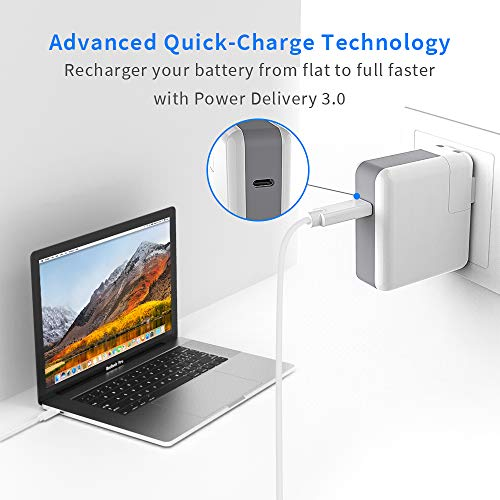 USB Type C Charger, HASESS USB-C Charger for MacBook Pro Charger USB C Type C Wall Charger Compatible with MacBook Pro, Lenovo, ASUS, Acer, Dell, HP and More Laptops or Phones - 3.28Ft Power Cord 45W