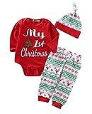 Chickwin 3 PCS Bebé Unisex My First Christmas Navidad Manga Larga Mono Bodies y Ciervo Impresión Pantalones y Sombrero (Copos de Nieve Rojos, 70 (0-3 Meses))