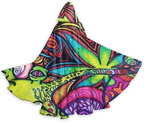 Capa para Adultos Capa Multicolor Trippy Hoja de Marihuana Hierba de Cuerpo Entero Capa con Capucha de Halloween Capa de fantasía de Navidad Disfraces para Mujeres Hombres