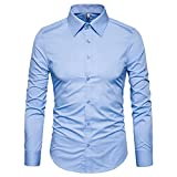 Manwan walk Men's Slim Fit Business Casual Cotton Long Sleeves Solid Button Down Dress Shirts (Medium, Light Blue)