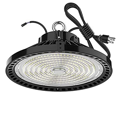 150W Led High Bay Light Bulb UFO 5000k,Dimmable 22500 Lumens Listed(600W HID/HPS Equivalent) Bright White, Industrial Highbay Warehouse Light Fixtures , AC 90-277V Waterproof IP65 1Pack