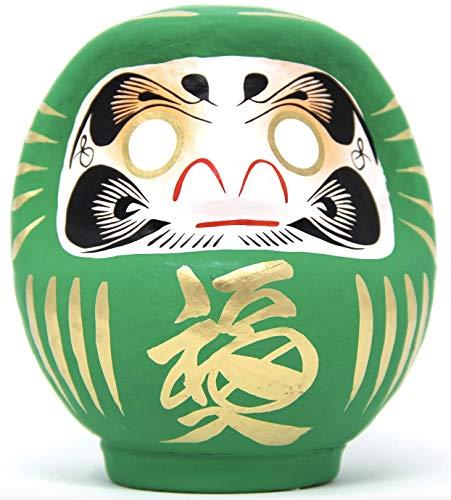 Poupée Daruma Lucky Traditionnelle & Authentique - Taille 2 - Vert : Bonne Santé & Vitalité - Fabriquée à la main au Japon - Hauteur : 12 cm