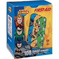 Justice League 100CT Bandages 3/4x3, DC Comics Offficial (Batman, Green Lantern, Aquaman) by Derma Sciences