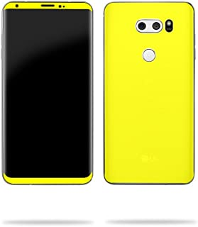 MightySkins Skin Compatible with LG V30 - Solid Yellow | Protective, Durable, and Unique Vinyl Decal wrap Cover | Easy to Apply, Remove, and Change Styles | Made in The USA