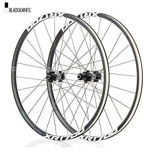 Juego ruedas Conjunto bicicleta montaña Blanco MTB doble pared Aleación aluminio Cubo rueda libre Freno disco llanta Liberación rápida Rodamientos Ciclismo delantera trasera,8-11 velocidad,27.5'