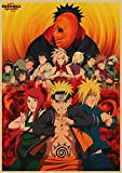 AJleil Puzzle 1000 Piezas Anime japonés Naruto Dibujos Animados Manga Retro Art Deco Pintura Puzzle 1000 Piezas Rompecabezas de Juguete de descompresión intelectual50x75cm(20x30inch)