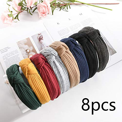 DAHI haarband dames 8 stuks haarband hoofdband haarband haaraccessoires vintage hoofd warm met knopen in 8 verschillende kleuren