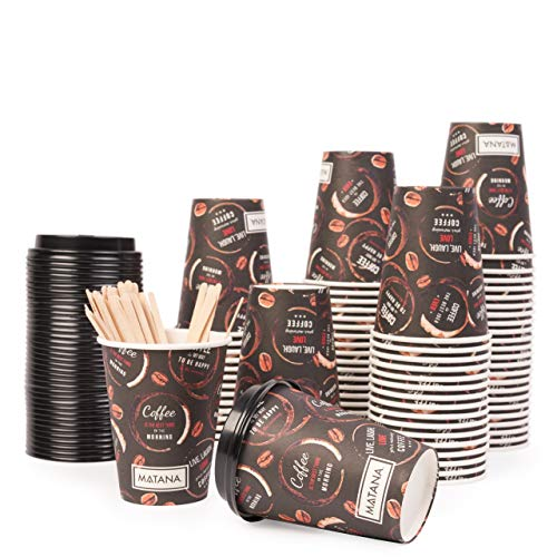 Matana 80 Vasos de Café Desechables para Llevar con Tapas y Agitadores - 360ml