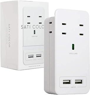 Fargo インテリア おしゃれ 壁挿し 電源タップ 雷サージガード ホワイト 白 スマホスタンド AC4個口 4.2A USB 急速充電