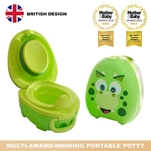 My Carry Potty - Dinosaur Travel Potty, Award-Winning Portable Toddler Toilet Seat for Kids to Take Everywhere