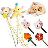 Flying Childhood Juguetes para gatos de interior, juguetes interactivos, varita de gato con borla de campana, suministros para gatos, regalo para amantes de los gatos, paquete de 6