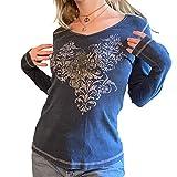 Y2K - Camiseta de manga larga con estampado floral vintage con cuello en V para mujer, D-azul, S