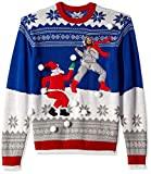 Blizzard Bay Men's Jesus Santa Snowball Fight Ugly Christmas Sweater, blue, XX-Large