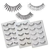 Winstonia 15 Pairs False Eyelashes Fake Lashes Fashion Makeup Cosmetic Set - Natural Long Delicate Invisible Band