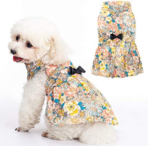 SCENEREAL Cute Flower Girl Dog Dress Pet Clothes Beautiful Pet Puppy Skirt Full of Flower Patterns product image