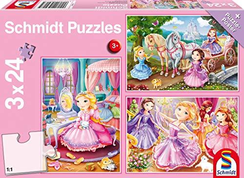 Schmidt Spiele 56217 Märchenhafte Prinzessin, 3x24 Teile Kinderpuzzle