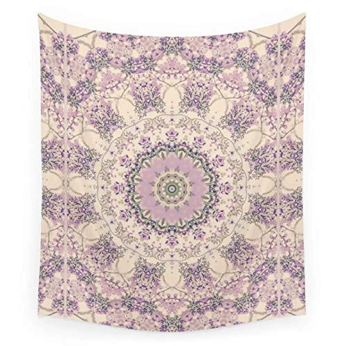 N/A Tapestry 3D Printing Wisteria Circle Vintage Cream and Lavender Purple Mandala Tapestry Wall Hanging Beach Towel Blanket Yoga Mat Carpet Home Decor Home Living Room Decoration Gifts