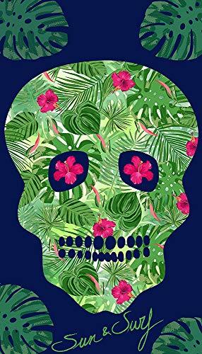 Sun and Surf Velour Printed Beach Towel Skull 90 x 170 cm, 226 B, Multicolor