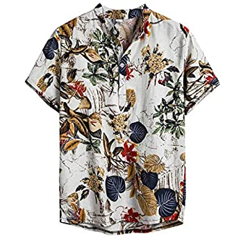 Men s Summer Short Sleeve Casual Ethnic Floral Relaxed Fit Button Down Cotton Linen Tropical Hawaiian Shirts  XL White