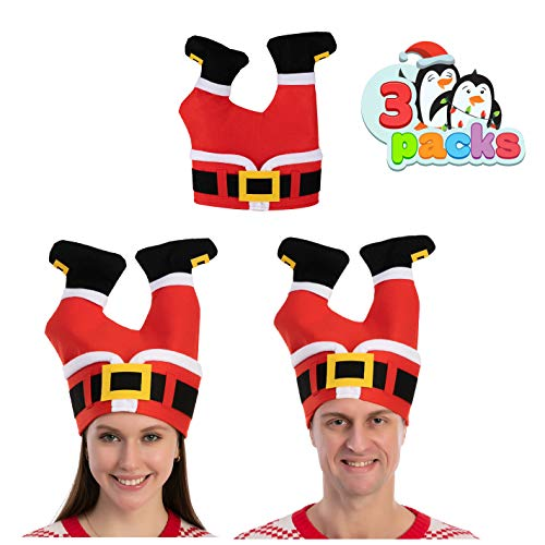 JOYIN 3 Packs Christmas Santa Pants Hats for Funny Hilarious and Festive Christmas Party Hat Dress Up Celebrations, Winter Party Favor, Christmas Decorations, Costume Accessories Red