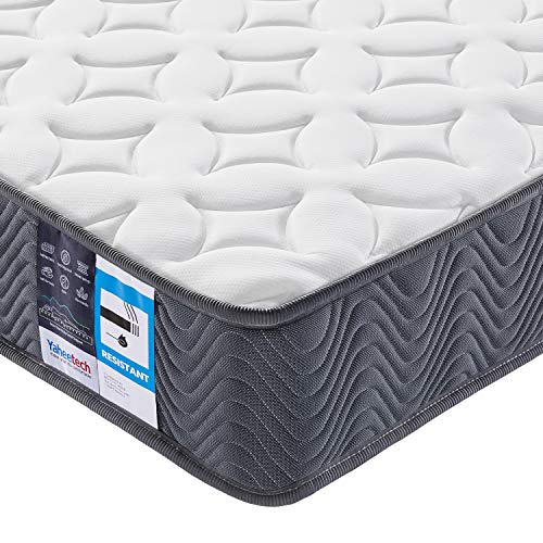 Yaheetech 4ft6 Double Bed Mattress Pocket Sprung Foam Mattress Medium Firm 9-Zone Support System with Hypoallergenic Knitted Fabric,Grey,135x190cm