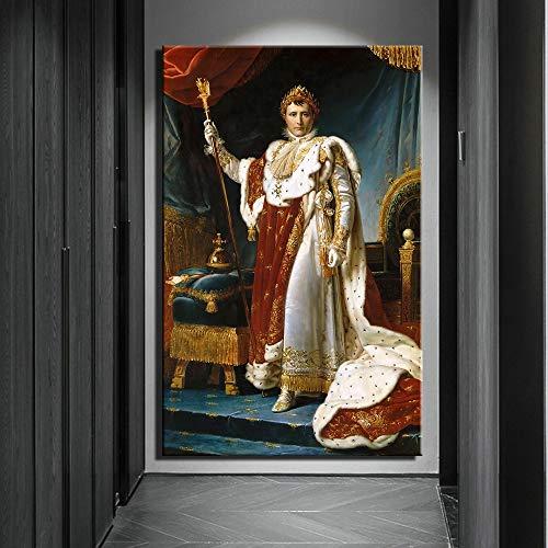 HGlSG Porträt von Napoleon Klassische Ölgemälde Druck auf Leinwand Kunstdrucke Europäische Hofwandbilder Kreatives Aquarell Wandkunst Wandbild A4 70X100cm