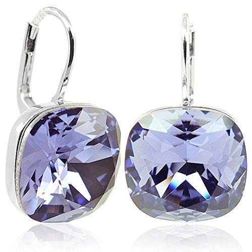 Ohrringe mit Kristalle von Swarovski® Silber Lila NOBEL SCHMUCK