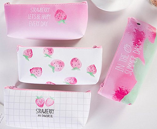 HappyDaily 4 Pack Beautiful Strawberry Waterproof Pencil case Pen Bag or Cosmatic Bag Makeup case or Coin Purse Pouch (Long Size, Pink Strawberry)